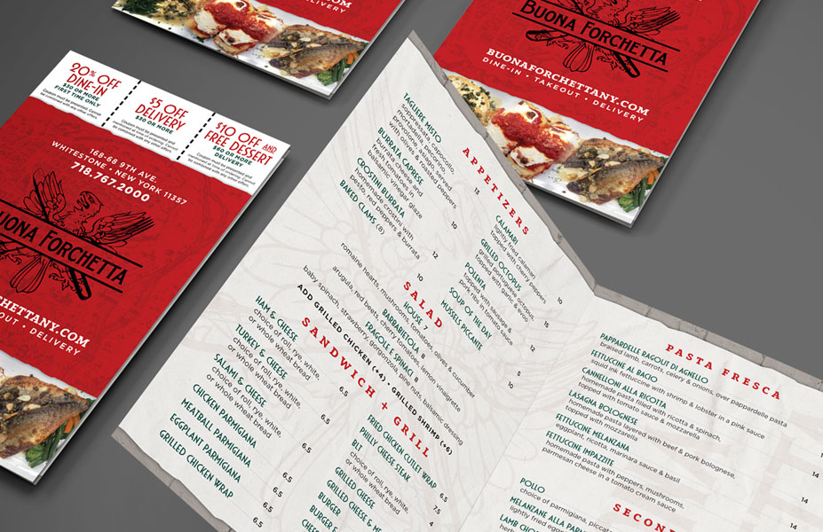Buona Forchetta Takeout Menu Branding & Print Design