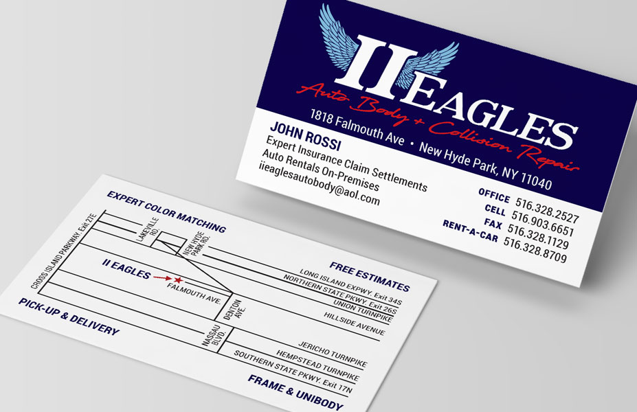 II Eagles Auto Body Branding & Business Card Print Design